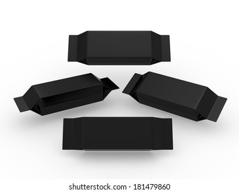 Black blank package for long rectangle shape product with clipping path, packaging or wrapper for Chocolate ,cookies, biscuit, milk bar, wafers, crackers, snacks or any kind of food