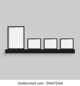 Black blank picture. Frame template poster. Picture frame set. Graphic illustration