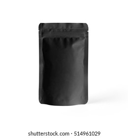 Black blank plastic vacuum sealed pouch bag isolated on white background. Packaging template mockup collection. With clipping Path included.