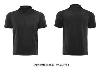 Black blank polo t shirt template isolated on white with clipping path.