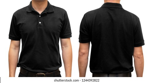 Black blank polo t-shirt on human body for graphic design mock up