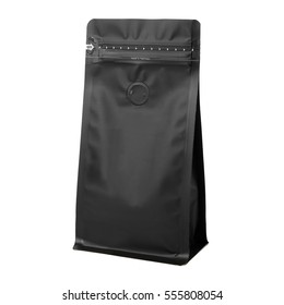 Black Blank Side Gusset Foil Coffee Bags With Degassing Valve Isolated on White Background. Packaging template mockup collection. Clipping Path. Aluminium coffee package