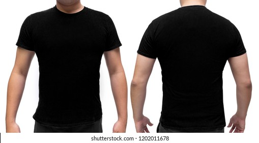 Black blank  t-shirt on human body for graphic design mock up