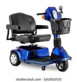 Black & Blue 3 Wheel Mobility Scooter with Front Basket Isolated on White Background. Modern Powerful Mobility Aid Vehicle. Personal Transport Side View. Electric Wheelchair with Step Through Frame