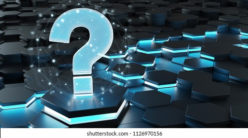 Black blue abstract question icon on hexagons background 3D rendering