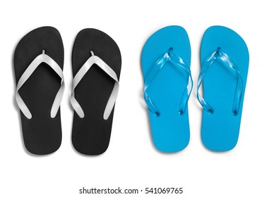 Black and blue rubber slippers on white background with clipping path