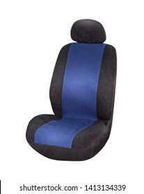 Black and blue velours car seat cover with headrest, upper front side view, isolated on white