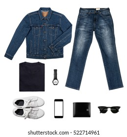 Black & BlueTone Man's clothing collections isolate on white(shirt,jean,wallet,watch,sunglasses,phone,jacket,shoe) with clipping path