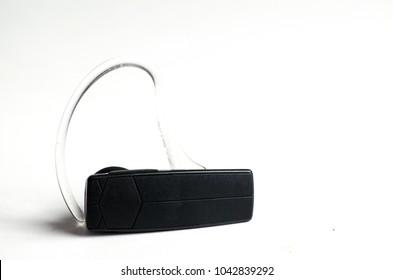 Black Bluetooth Headset On White background