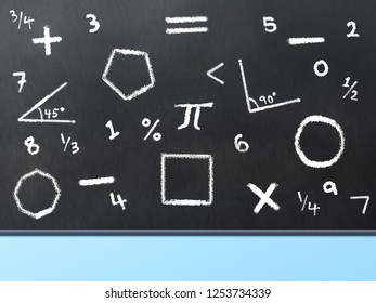 Black board with math symbols and shapes written in chalk