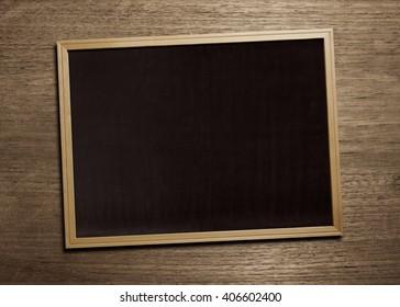 black board on wood table