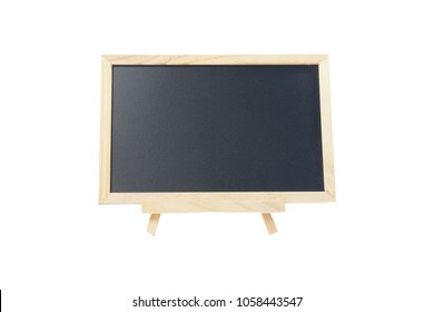 Black board with stand on white background.