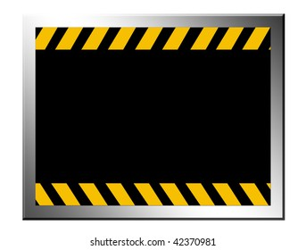 Black  board with yellow lines. caution advertisement, space to insert text or design