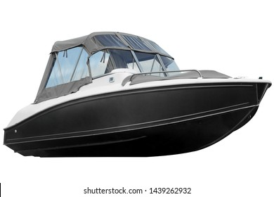 Black boat with canvas top isolated on white background.