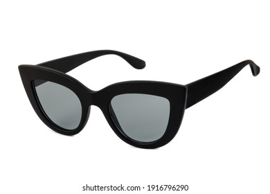 Black bold cat eye sunglasses with clear lenses and thick frames isolated on white background. Side view.
