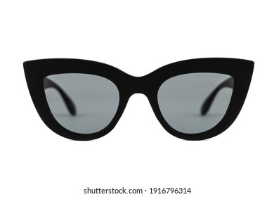 Black bold cat eye sunglasses with clear lenses and thick frames isolated on white background. Front view.