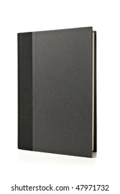 Black Book Standing Up on White Background. Studio lit and isolated.