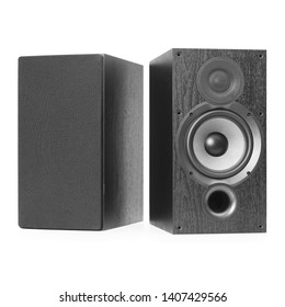 Black Bookshelf Speakers Isolated on White. Front View of Modern Powered Acoustic Audio Stereo Sound Entertainment System 2.0 Ch Output with Aluminum Woofer. Home Cinema Theater. Data Surround Speaker
