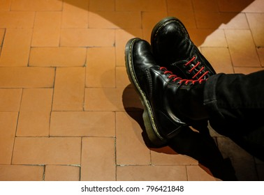 Black boot typical of punk fashion