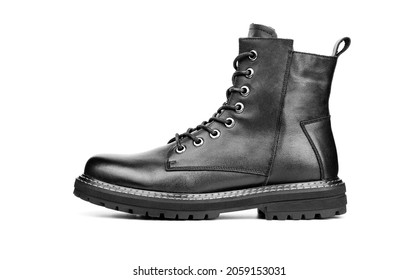Black boots isolated on white. Steel cap leather boots isolated on white. Black combat men boot, black Military boots at Through use.