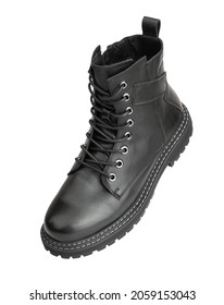 Black boots isolated on white. Steel cap leather boots isolated on white. Black combat men boot, black Military boots at Through use. With clipping path