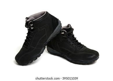 Black boots isolated on a white background.