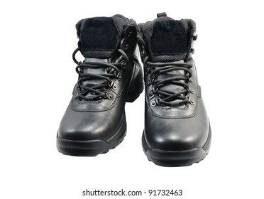 black boots on the isolated white background
