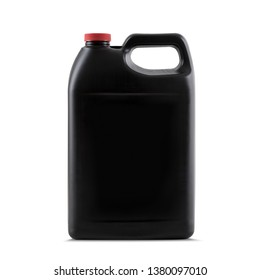 Black bottle plastic recipient for industrial oils without label isolated on white background