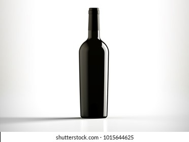 Black bottle of red wine, bordolese conical, still life on a white background, 3D rendering.
