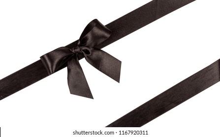 Black bow, ribbon. Isolated on white background.