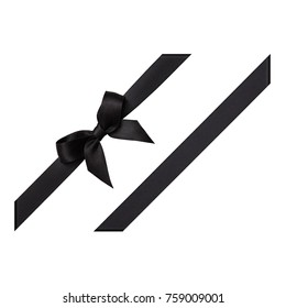 Black bow tied using silk ribbon, cut out top view