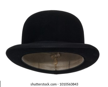 Black bowler hat isolated on white background.  Straight front view. Tilted up a little, showing the interior leather band.