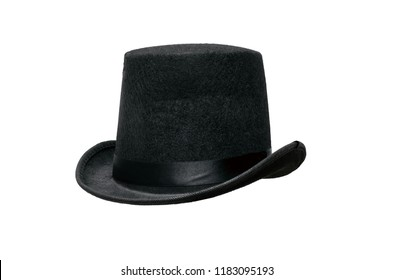 Black bowler hat isolated on white background.