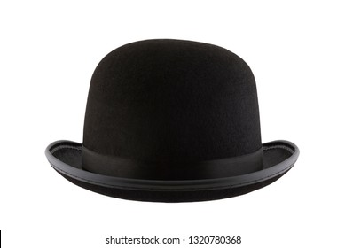 Black bowler hat isolated on white background