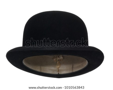 449942659b5 Black bowler hat isolated on white background. Straight front view. Tilted  up a little