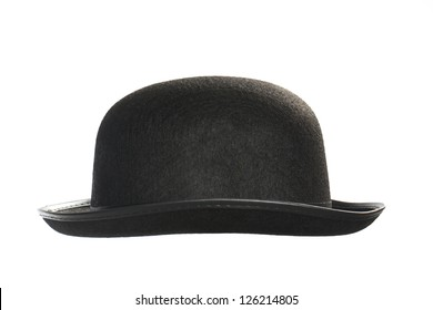 Black bowler hat on white background.