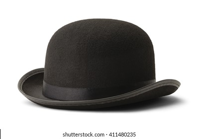 Black Bowler Hat Side View Isolated on White Background.