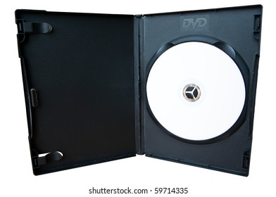 Black Box CD storage with DVD disc on white background