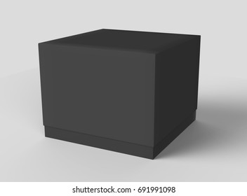 Black box cube mockup, blank box template isolated on grey in 3d rendering