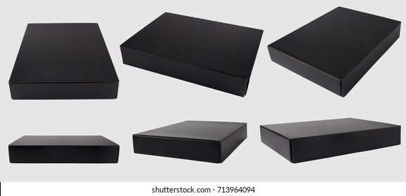 black box on gray background with clipping path