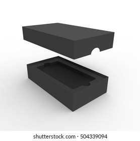 Black box Package for mobile phone, or other things, isolated on white background, Mockup. 3D illustration