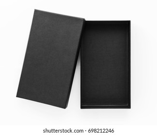 Black box product packaging on white background