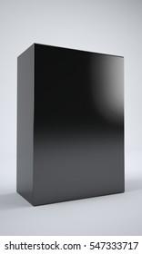 Black box in studio. 3D illustration. Area for copyspace