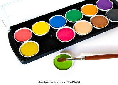 Black box of watercolors isolated on a white background
