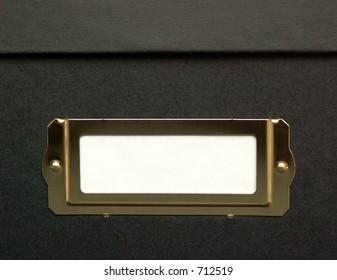 black box with white label area