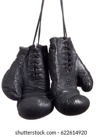 Black Boxing gloves on white isolated background.