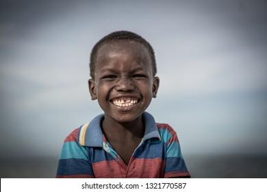 Black boy on beach