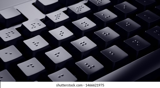 Black Braille Keyboard. Accessible keys for blind people.