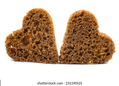 black bread heart on a white background