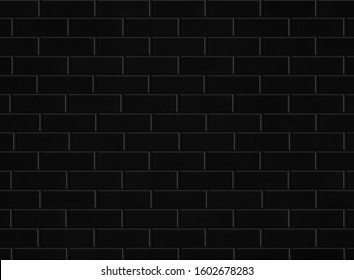 black brick tile wall or ceramic subway texture for background